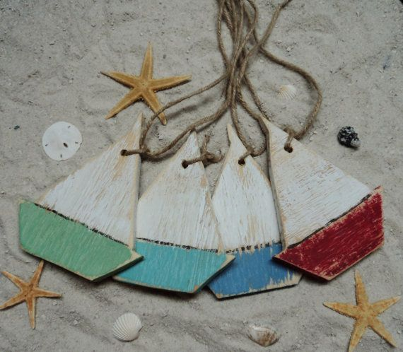 50 Wooden Sail Boat Ornaments Beach Themed by TheSavvyShopper1, $80.00