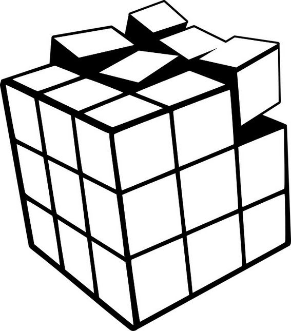 Happy Rubiks Cube Coloring Page For Children With Images