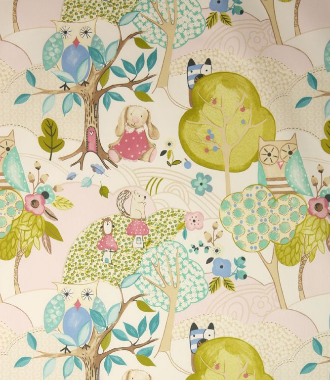 Great childrens curtain fabric with a fun woodland animals for Cheap childrens curtain fabric