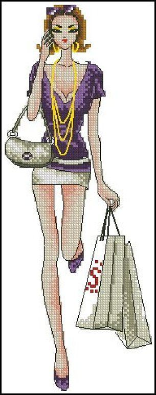 point de croix femme moderne avec un téléphone - cross-stitch modern woman shopping with a phone