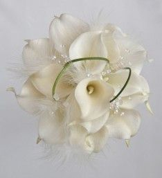White Calla Lily Bridesmaids Bouquet with White Crystals