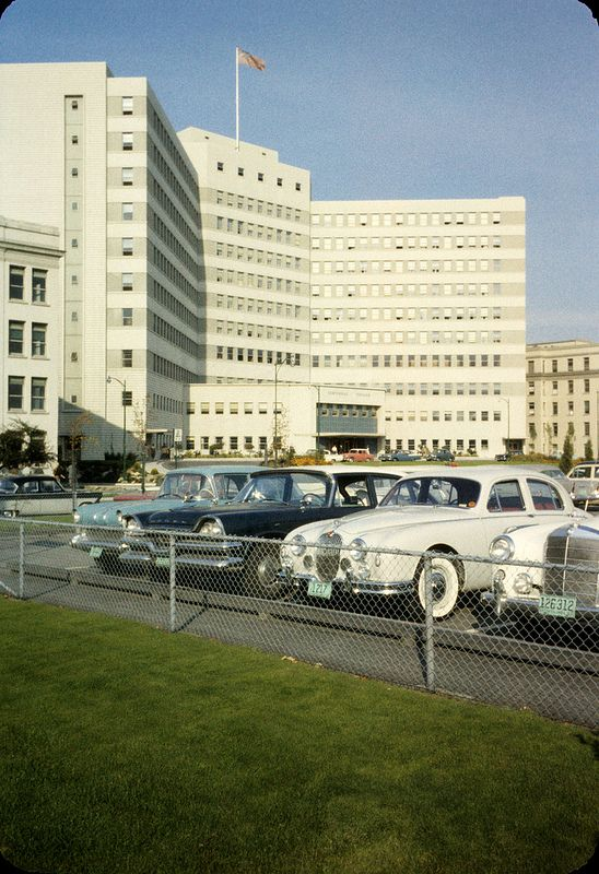 View of cars parked in front of Vancouver General Hospital's Centennial Pavilion 1959, sheraton leslie f   by vancouverbyte