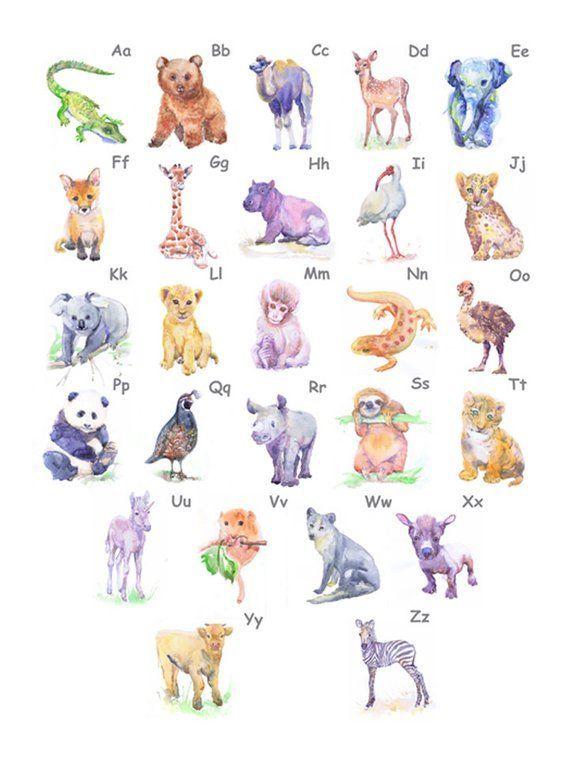 Animal Alphabet Poster Nursery Decor Abc Wall Art Valrart Alphabet Animalalphabet Abc Print Abc Wall Art Watercolor Animals