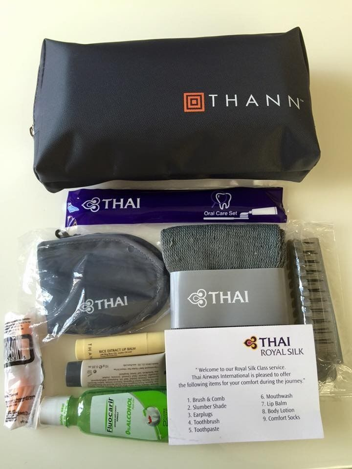 Thai Airways Airline Amenity Kit Bag Royal Silk Business