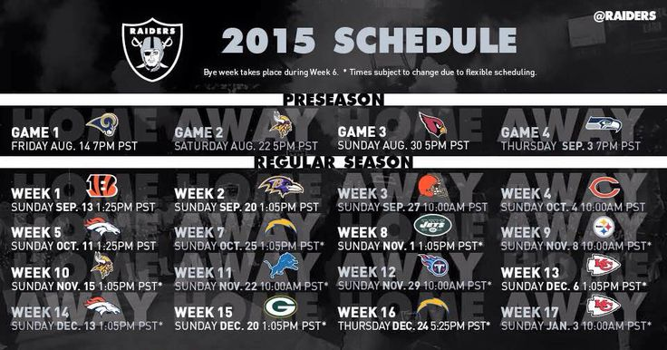 2015 Oakland Raiders schedule