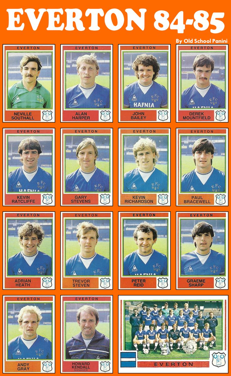 Old School Panini: UK Football Team - Everton FC 1985