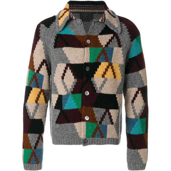 Prada geometric patchwork cardigan ($1,990) ❤ liked on Polyvore featuring men's fashion, men's clothing, men's sweaters, multicolour, mens patterned sweaters, mens collared sweater, mens cardigan sweaters, mens colorful sweaters and mens shawl collar cardigan sweater