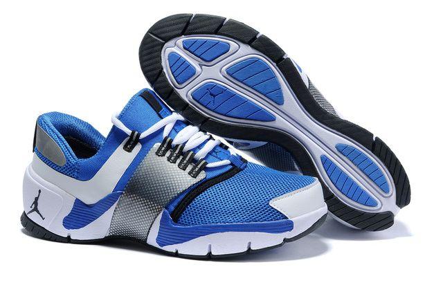 qqKDHjv Nike Air Jordan Alpha Trunner Mens Basketball Shoes-Blue Silver White
