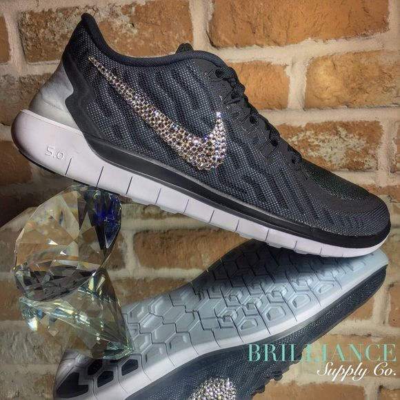 Blinged Nike Free 5.0 Black Swarovski Crystals Authentic Women's Nike Free 5.0 running shoes in Black.  Outer Nike logos are encrusted with hundreds of genuine Swarovski® crystals in up to 16 different sizes to ensure maximum brilliance and shine.  Shoes are brand new in original box and are purchased directly from Nike authorized retailers.  Crystals are applied with industrial strength glue & will not come off.  *Note* These shoes are made to order.  Please allow up to 2 weeks to receive…