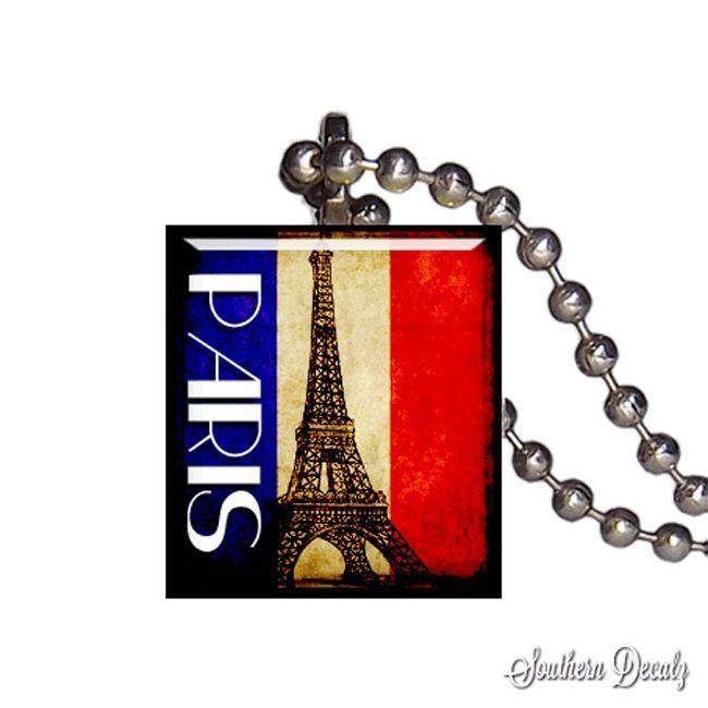 Reclaimed Scrabble Tile Pendant Necklace - Paris Flag Eiffel Tower #SouthernDecalz