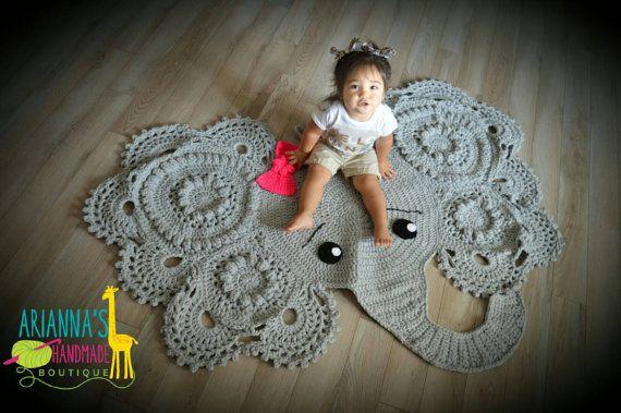 Crochet Elephant rug. Photo props. Baby shower by AriannasHandmade