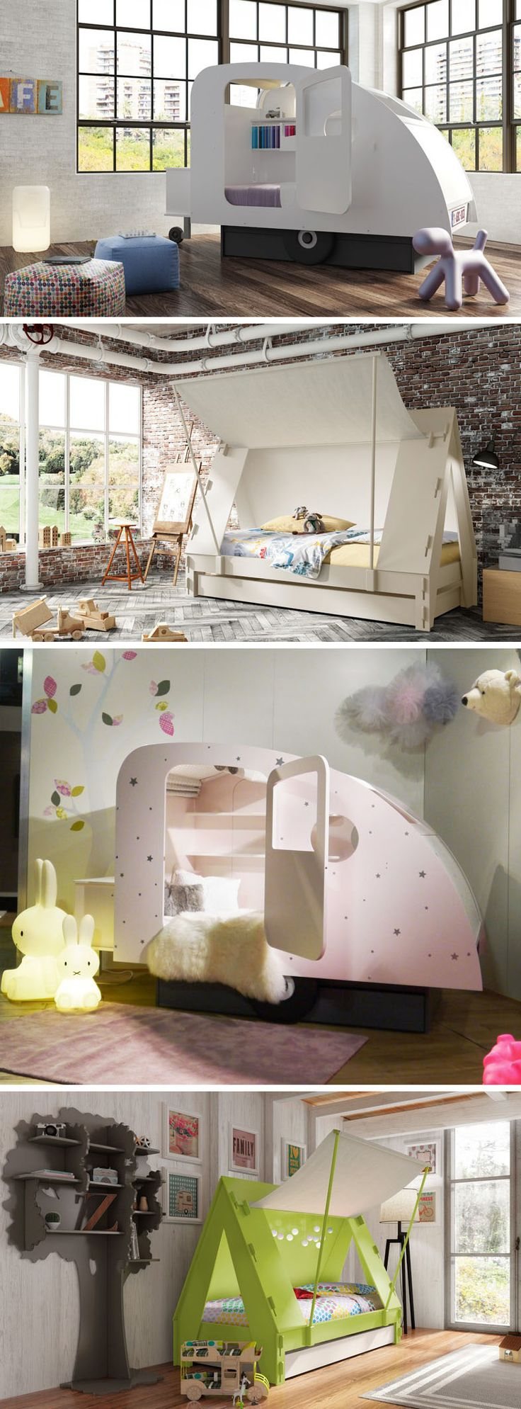 Belgium design company Mathy By Bols have created two childrens beds named Caravan and Tent, that allow the world of camping / travelling to be explored indoors.