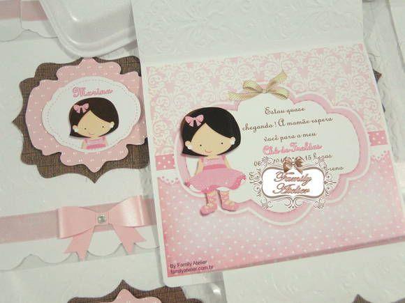 Convite Boneca | Family Atelier - mimos personalizados | 35AEFC - Elo7