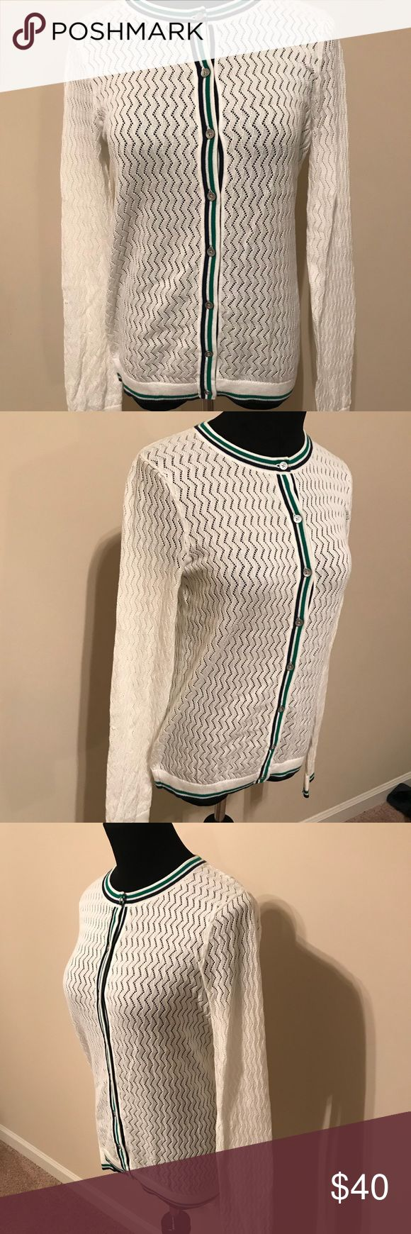 "Lands end women small cardigan sweater golf Crochet white women small suprema cotton. Blue and green stripe cuffs and hem lines. Nickel buttons. Never worn.   Pit to pit 17"" Length 23"" Sleeve 26""  Golf, tennis, sweater, cardigan, preppy, country club, polo Lands' End Sweaters Cardigans"