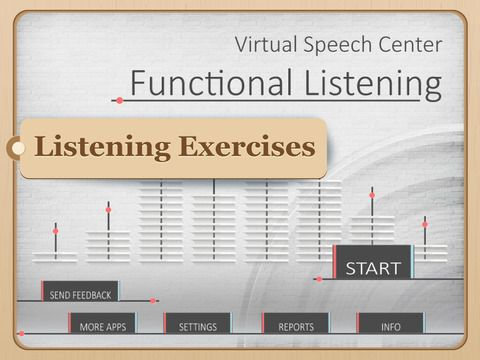 Functional Listening by Virtual Speech Center Inc. ($14.99)  includes listening exercises with everyday messages that might be heard thought the day at different settings such as store, doctor's office, school, etc.   Functional listening can be used in speech therapy with individuals, who struggle with language comprehension due to receptive language disorders, Central Auditory Processing Disorder (CAPD), stroke and cognitive deficits. This app can be also used by second language learners…
