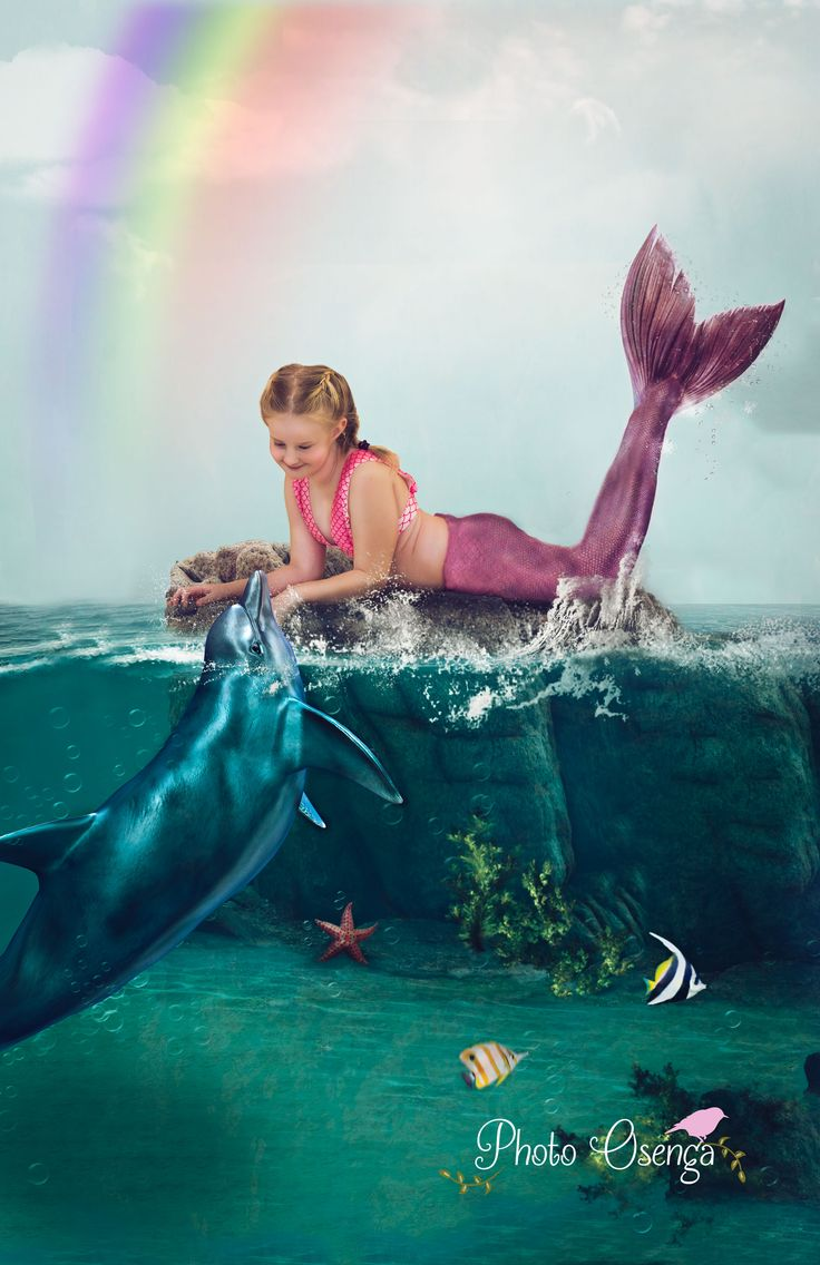 Mermaid meets dolphin FairTale shoot by Photo Osenga composite