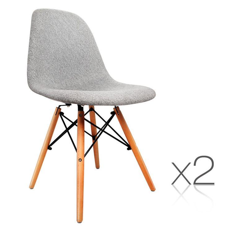 2 x Retro Replica Eames Eiffel DSW Dining Chairs