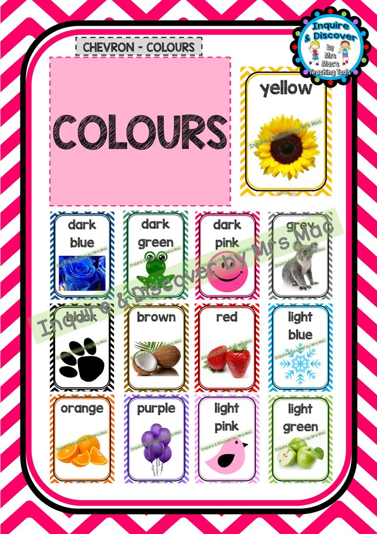 COLOURS CHART – Classroom Decor – Posters – Chevron – Colours