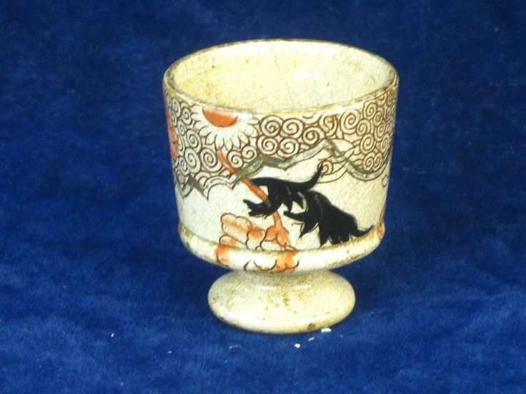 23854 Old Vintage Antique Pottery Egg Cup Hand Painted Victorian Japanese