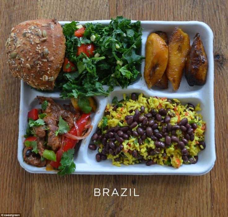 A meal of traditional flavours: Brazil's rice and black beans, baked plantain, pork with p...