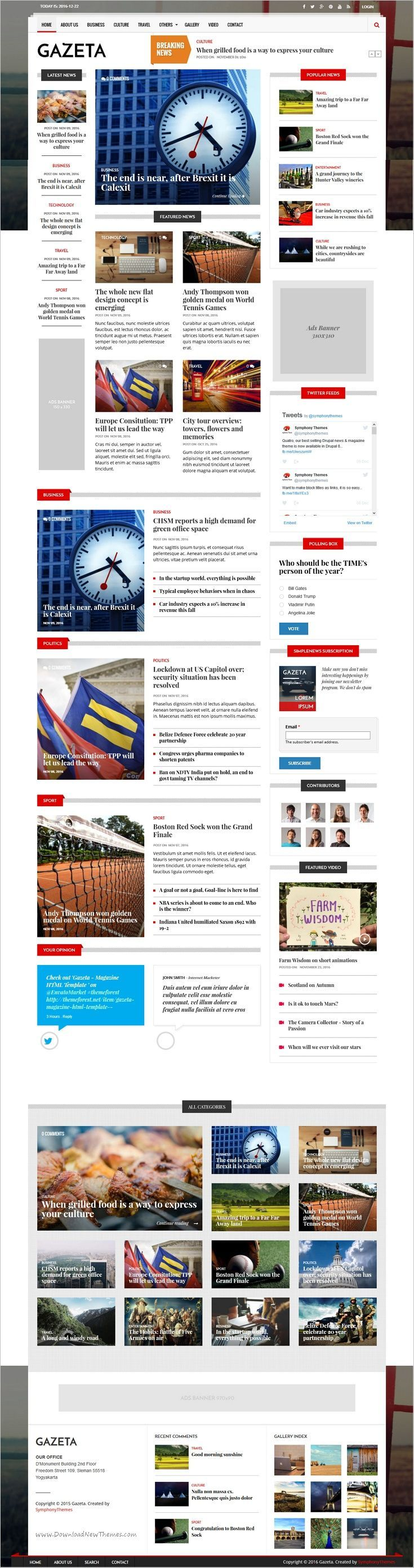 SymphonyThemes - Gazeta News Magazine Drupal Theme - An impressive Drupal theme for your news & magazine websites. Powered by Drupal 8, it has the latest technology and ongoing updates from the strong Drupal community.