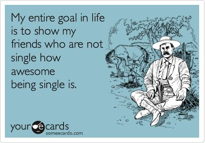 My entire goal in life is to show my friends who are not single how awesome being single is. Haha yep!Being Single, Entire Goals, Quotes, Awesome, Single Life, Funny Stuff, Humor, Life Goals, Ecards