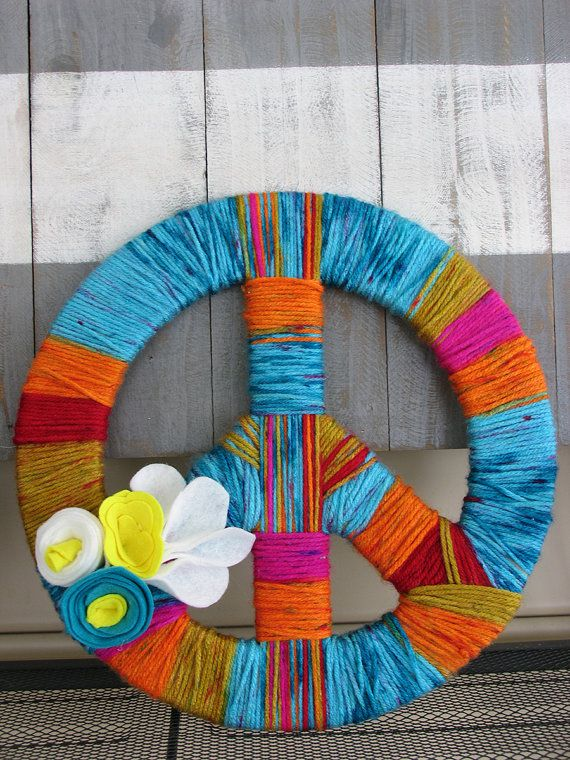 peace sign warn wreath by cisclothingco on Etsy, $22.00