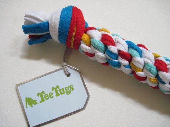 Upcycled dog toys!! This toy completely made from recycled T shirts!