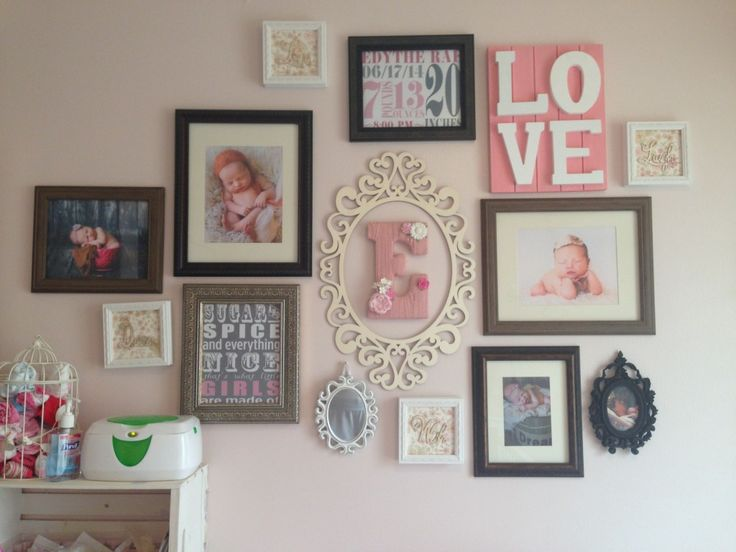 Gallery Wall in a Pink Shabby Chic Nursery