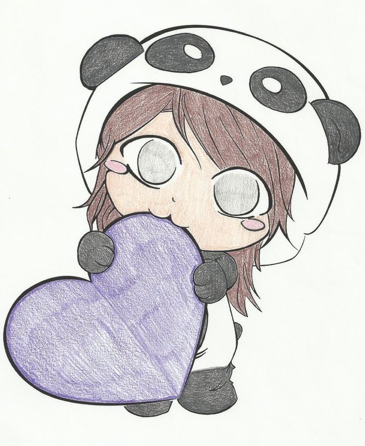 To start us off, we have a kawaii picture of a panda girl eating a purple heart! It is so cute!