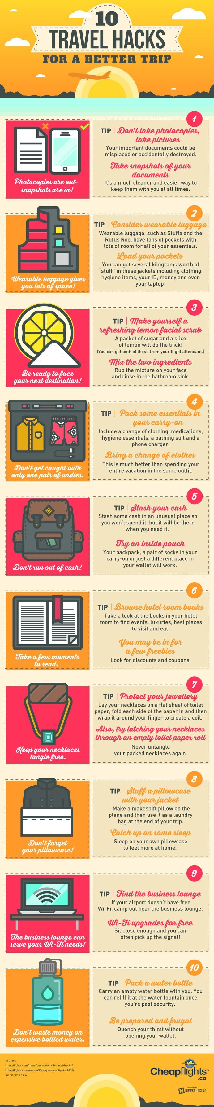 Infographics / Click here to learn all about the latest travel hacks. Your next vacation depends on it!