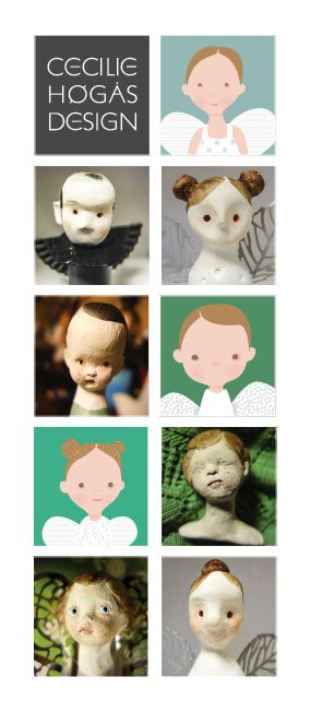 Cecilie Design: Faces of angels. Angels / fairies made from clay, mixed media, illustrations.