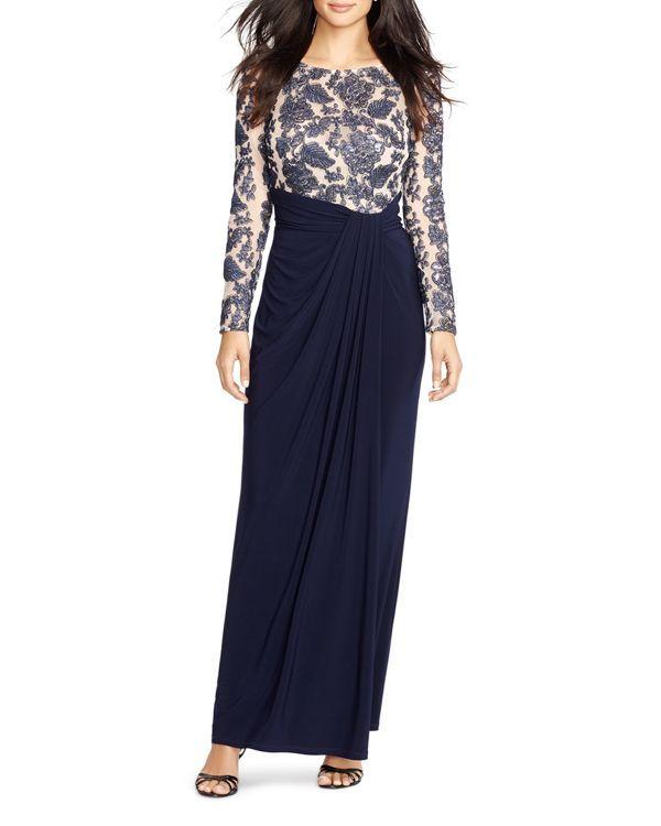 Lauren Ralph Lauren Long Sleeve Sequin Gown