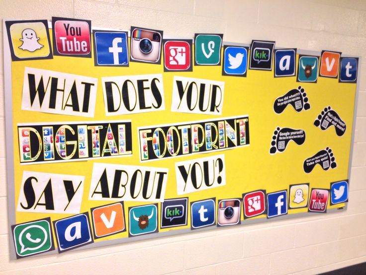 Our digital footprint bulletin board in the library