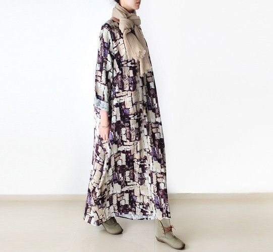 "Women Loose Fitting Linen Long dress,praid print oversize gown dress,causal shirt dress,Women Caftan,Plus Size Clothing Bust>120cm/47"""