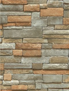 Brown, orange, gray and tan ledgestone wallpaper. This paper is prepasted and scrubbable. BC1581943 $27.99