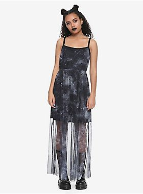 """Take your love of Star Wars to the maxi! This dress featuring a starfighter galaxy printed mesh maxi over a solid black shorter slip. 56"""" long Self: 100% polyester Lining: 62% polyester; 32% rayon; 6% spandex Wash cold; dry low Imported Listed in junior sizes"""