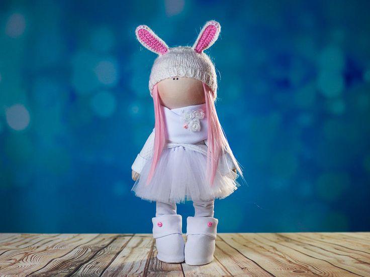 Doll tilda. Doll Ilona. Сollection Fairy doll. Textile doll. Soft toy. Cute gift. Interior doll. Rag doll. Soft toy. Doll with Bunny ears by OwlsUa on Etsy
