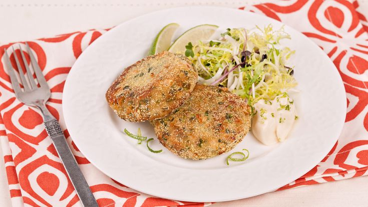 Jalapeno Bean Cakes With Lime Mayo - Recipes - Best Recipes Ever - These tasty little bean cakes are a breeze to make - especially when you use the food processor.
