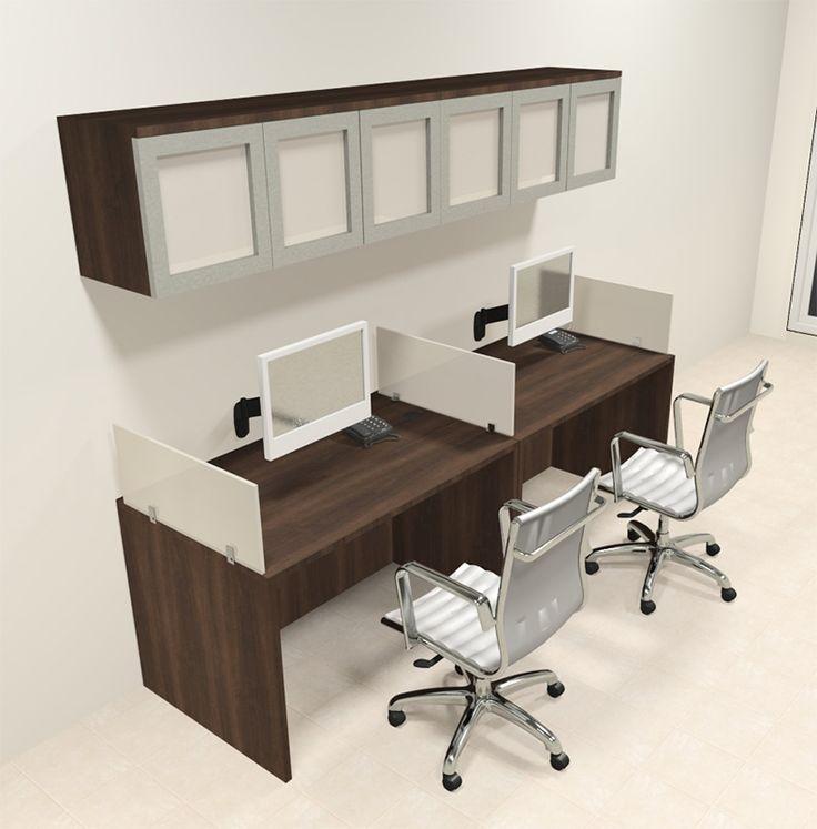 Two Person Modern Divider Office Workstation Desk Set,