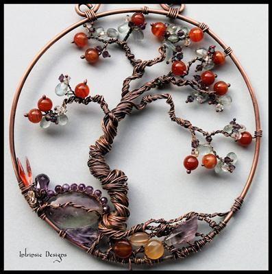Bonsai Tree gemstone and wire suncatcher