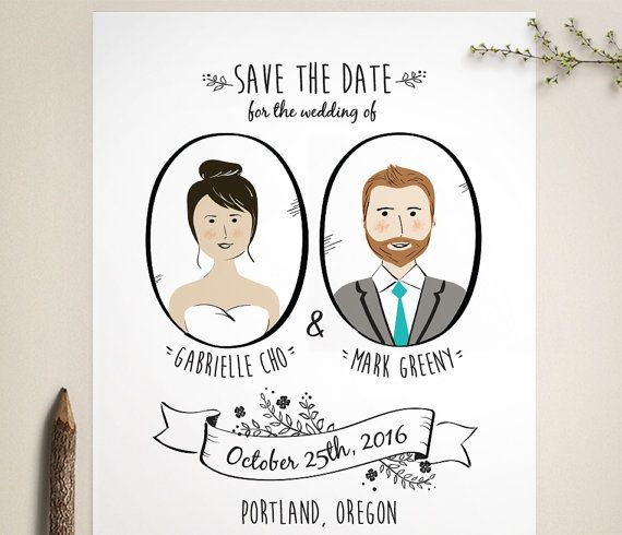 Custom Portrait Save The Date folk save the by LucyLovesPaper