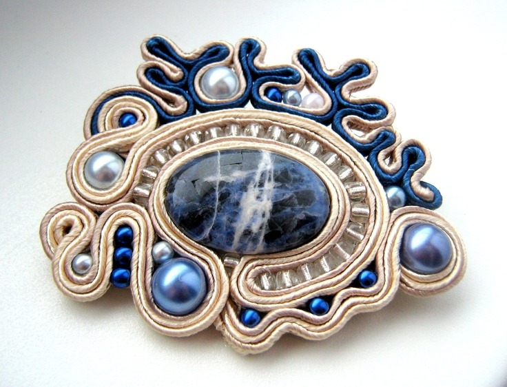 brooch - beads & soutache
