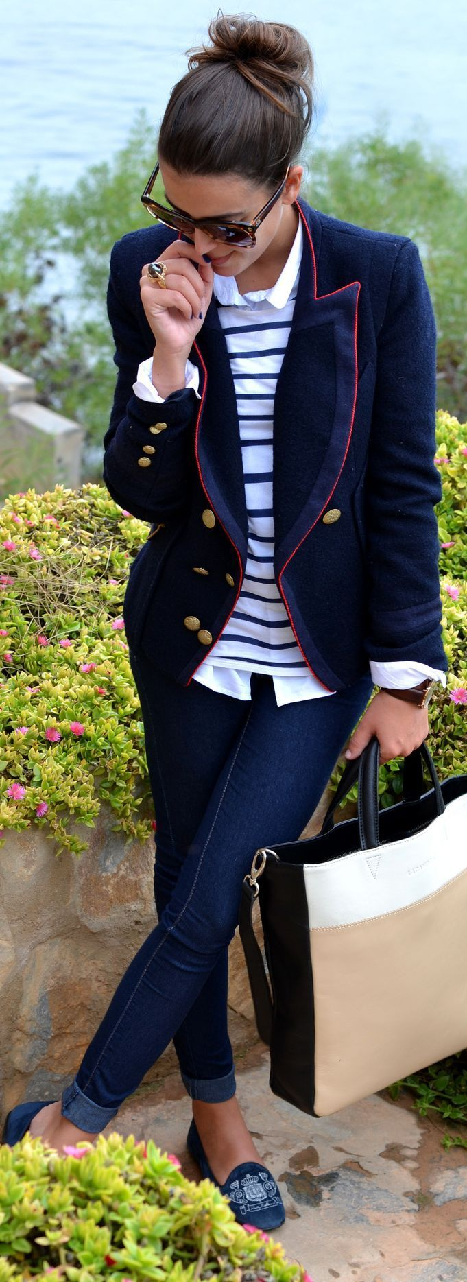 Pair this military blazer to any suit or skirt to instantly get a unique formal look!