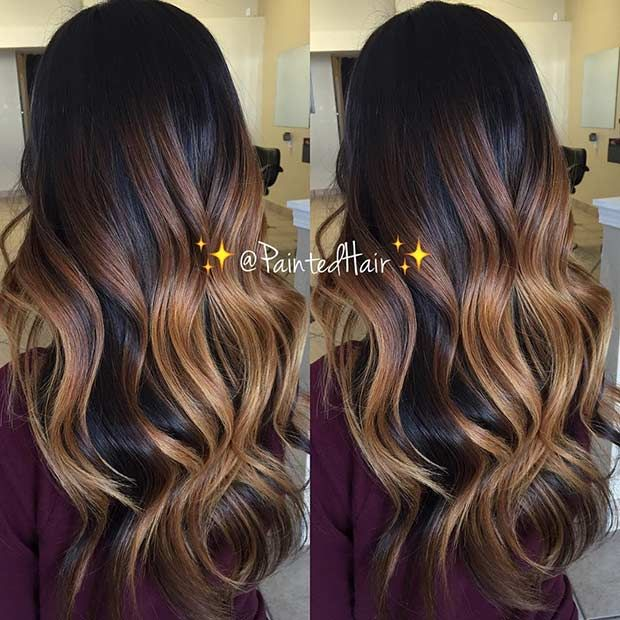 Caramel Balayage Highlights on Dark Hair