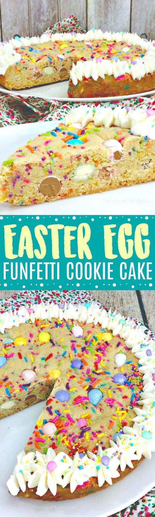This Easter Funfetti Cookie Cake is just LOADED with goodies!! Thick, chewy cookie stuffed with chocolate candy and sprinkles - perfect for parties, birthdays, or any occasion that calls for some color! #Easter #cookie #dessert via @soccermomblog