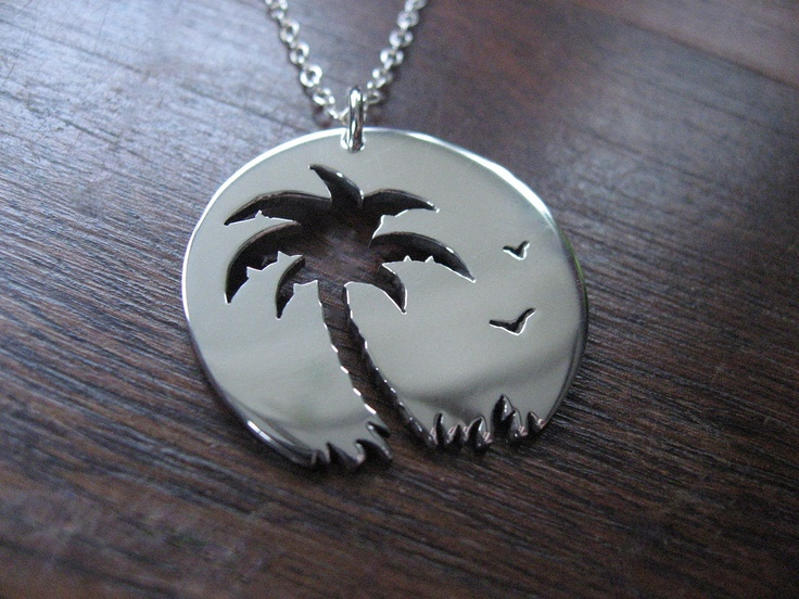 Palm tree Sunset Birds Pendant Necklace by GorjessJewellery