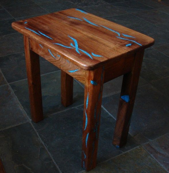 End Tables~Mesquite Wood & Turquoise inlay