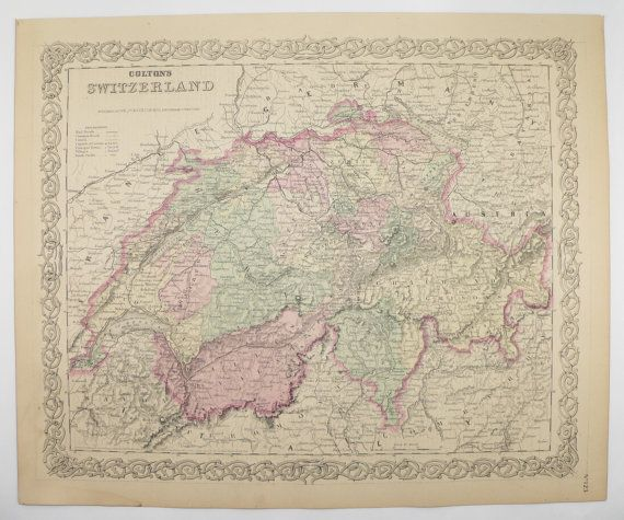 1881 Switzerland Map, Swiss Alps 1881 Colton Map, Alps Mountains, Vintage Decor Gift for Her, Old World Antique Map, Gift for Coworker available from OldMapsandPrints.Etsy.com #Switzerland #SwissAlps #VintageMapsforSale
