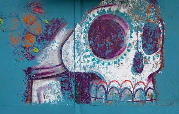 Обои роспись, череп, хэллоуин, рисунок, Мексика, Оахака картинки на рабочий стол, раздел праздники - скачать